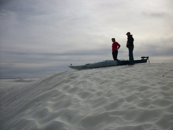 White Sands Monument NW-we dragged the Kayak to the top of a dune